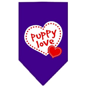 Puppy Love Screen Print Bandana Purple Small