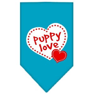 Puppy Love Screen Print Bandana Turquoise Large