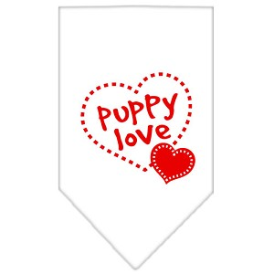 Puppy Love Screen Print Bandana White Small