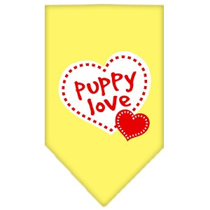 Puppy Love Screen Print Bandana Yellow Small