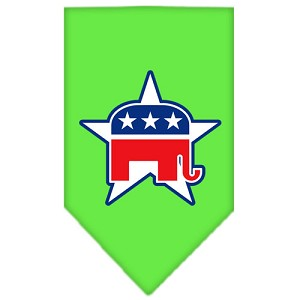 Republican Screen Print Bandana Lime Green Small