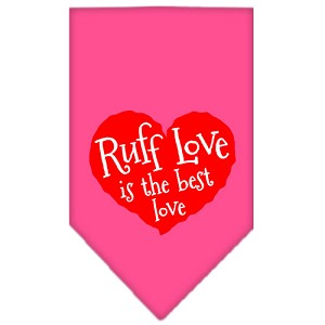 Ruff Love Screen Print Bandana Bright Pink Small
