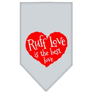 Ruff Love Screen Print Bandana Grey Large