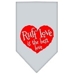Ruff Love Screen Print Bandana Grey Small