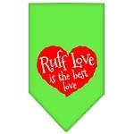 Ruff Love Screen Print Bandana Lime Green Small