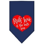 Ruff Love Screen Print Bandana Navy Blue Small