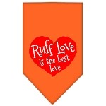 Ruff Love Screen Print Bandana Orange Small