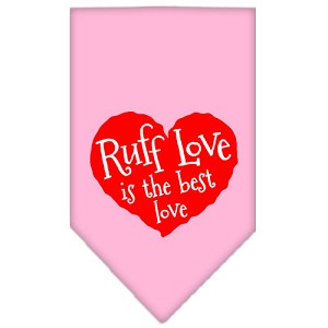 Ruff Love Screen Print Bandana Light Pink Large