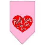 Ruff Love Screen Print Bandana Light Pink Small