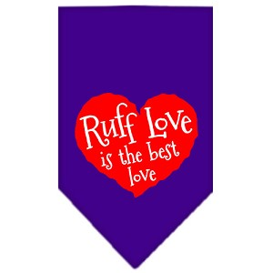 Ruff Love Screen Print Bandana Purple Small