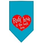 Ruff Love Screen Print Bandana Turquoise Small