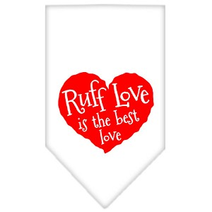 Ruff Love Screen Print Bandana White Small
