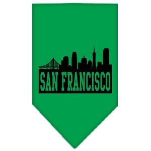 San Francisco Skyline Screen Print Bandana Emerald Green Large