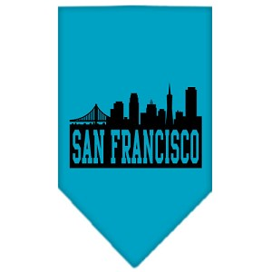 San Francisco Skyline Screen Print Bandana Turquoise Large