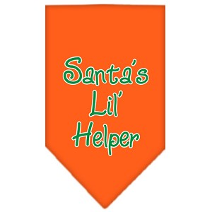 Santa Lil Helper Screen Print Bandana Orange Small