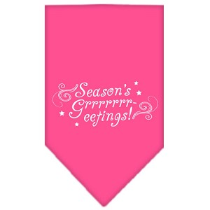 Seasons Greetings Screen Print Bandana Bright Pink Small