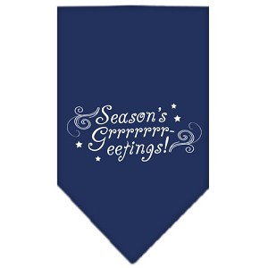 Seasons Greetings Screen Print Bandana Navy Blue large