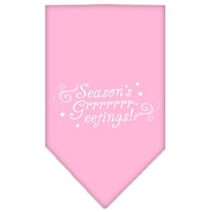 Seasons Greetings Screen Print Bandana Light Pink Small