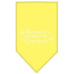 Seasons Greetings Screen Print Bandana Yellow Large