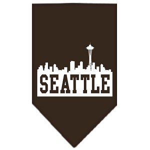 Seattle Skyline Screen Print Bandana Cocoa Small