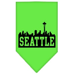 Seattle Skyline Screen Print Bandana Lime Green Small