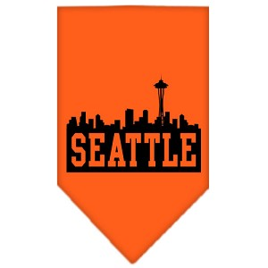 Seattle Skyline Screen Print Bandana Orange Small