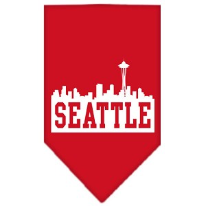 Seattle Skyline Screen Print Bandana Red Large