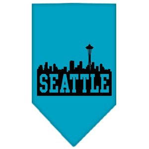 Seattle Skyline Screen Print Bandana Turquoise Small