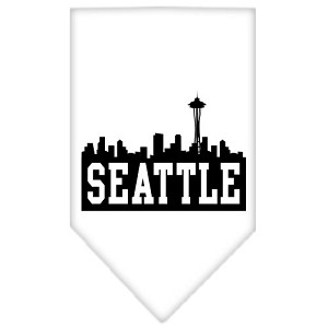 Seattle Skyline Screen Print Bandana White Large