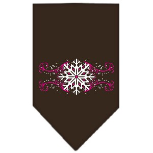 Pink Snowflake Swirls Screen Print Bandana Cocoa Small