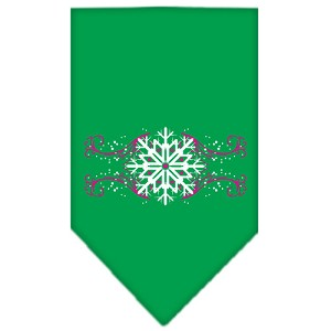 Pink Snowflake Swirls Screen Print Bandana Emerald Green Small