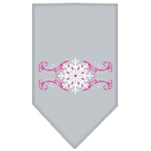 Pink Snowflake Swirls Screen Print Bandana Grey Large