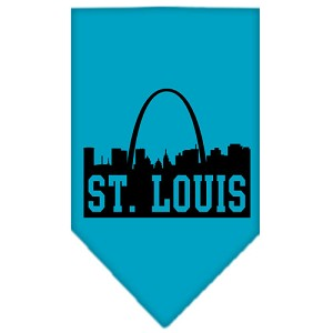 St Louis Skyline Screen Print Bandana Turquoise Large