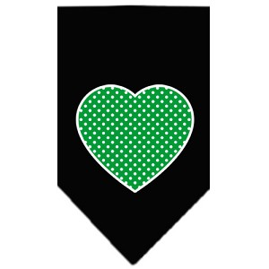 Green Swiss Dot Heart Screen Print Bandana Black Small