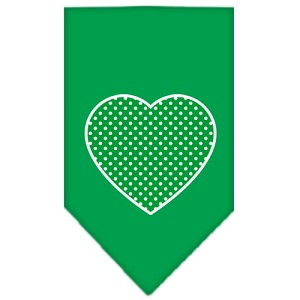 Green Swiss Dot Heart Screen Print Bandana Emerald Green Large