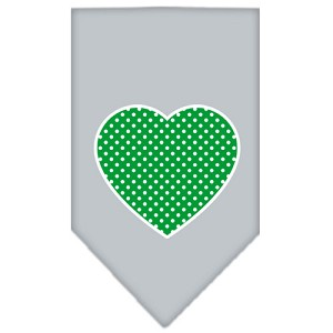 Green Swiss Dot Heart Screen Print Bandana Grey Large