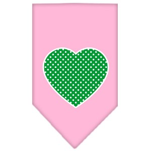 Green Swiss Dot Heart Screen Print Bandana Light Pink Large