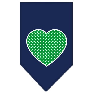 Green Swiss Dot Heart Screen Print Bandana Navy Blue Small