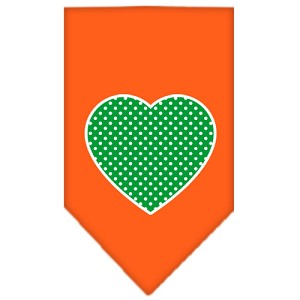 Green Swiss Dot Heart Screen Print Bandana Orange Small
