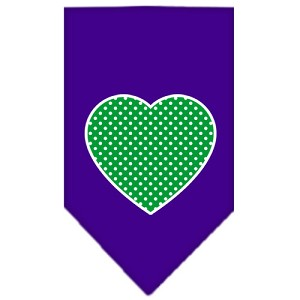 Green Swiss Dot Heart Screen Print Bandana Purple Large