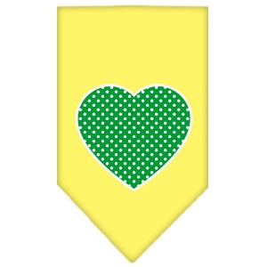 Green Swiss Dot Heart Screen Print Bandana Yellow Large