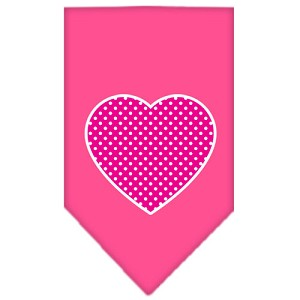 Pink Swiss Dot Heart Screen Print Bandana Bright Pink Small