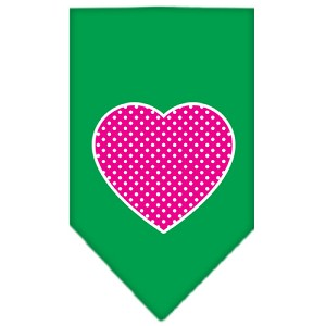 Pink Swiss Dot Heart Screen Print Bandana Emerald Green Small