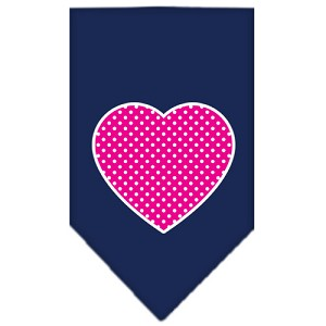 Pink Swiss Dot Heart Screen Print Bandana Navy Blue Small