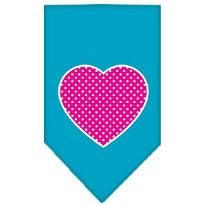 Pink Swiss Dot Heart Screen Print Bandana Turquoise Small
