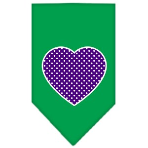 Purple Swiss Dot Heart Screen Print Bandana Emerald Green Large