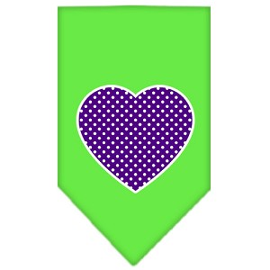 Purple Swiss Dot Heart Screen Print Bandana Lime Green Small