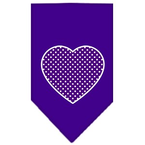 Purple Swiss Dot Heart Screen Print Bandana Purple Large