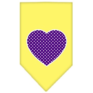 Purple Swiss Dot Heart Screen Print Bandana Yellow Large