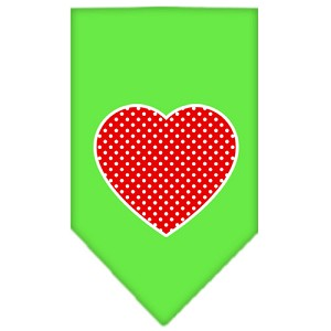 Red Swiss Dot Heart Screen Print Bandana Lime Green Large
